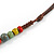 Multicoloured Ceramic Bead Brown Silk Cords Necklace - Adjustable - 60cm to 70cm Long - view 6