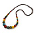 Multicoloured Ceramic Bead Brown Silk Cords Necklace - Adjustable - 60cm to 70cm Long - view 8