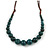 Teal Ceramic Bead Brown Silk Cords Necklace - Adjustable - 60cm to 70cm Long - view 3