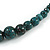 Teal Ceramic Bead Brown Silk Cords Necklace - Adjustable - 60cm to 70cm Long - view 5