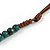 Teal Ceramic Bead Brown Silk Cords Necklace - Adjustable - 60cm to 70cm Long - view 6