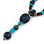 Long Blue, Teal, Brown Ceramic Bead  Light Brown Silk Cord Necklace - 70cm to 90cm Long (Adjustable) - view 4