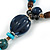 Long Blue, Teal, Brown Ceramic Bead  Light Brown Silk Cord Necklace - 70cm to 90cm Long (Adjustable) - view 5