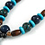 Long Blue, Teal, Brown Ceramic Bead  Light Brown Silk Cord Necklace - 70cm to 90cm Long (Adjustable) - view 6