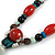 Blue/ Black/ Red Ceramic, Brown Wood Bead with Silk Cords Necklace - 56cm to 80cm Long/ Adjustable - view 5