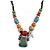 Pastel Multicoloured Ceramic Bead with Black Silk Cords Necklace - 50cm to 80cm Long/ Adjustable - view 3