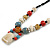 Pastel Multicoloured Ceramic Bead with Black Silk Cords Necklace - 50cm to 80cm Long/ Adjustable - view 4