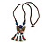 Bronze Tone, Ceramic Bead Butterfly Pendant with Brown Silk Cord Necklace - 72cm L/ 9cm Tassel - view 3
