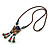 Bronze Tone, Ceramic Bead Butterfly Pendant with Brown Silk Cord Necklace - 72cm L/ 9cm Tassel - view 9