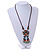 Bronze Tone, Ceramic Bead Butterfly Pendant with Brown Silk Cord Necklace - 72cm L/ 9cm Tassel - view 2