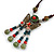 Bronze Tone, Ceramic Bead Butterfly Pendant with Brown Silk Cord Necklace - 72cm L/ 9cm Tassel - view 7