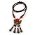Bronze Tone, Ceramic Bead Butterfly Pendant with Brown Silk Cord Necklace - 72cm L/ 9cm Tassel - view 8