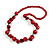 Cherry Red Round and Button Wood Bead Long Necklace - 88cm L