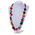 Multicoloured Round and Button Wood Bead Long Necklace - 88cm L - view 2