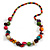 Multicoloured Round and Button Wood Bead Long Necklace - 88cm L - view 3