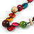 Multicoloured Round and Button Wood Bead Long Necklace - 88cm L - view 4