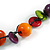 Multicoloured Round and Button Wood Bead Long Necklace - 88cm L - view 5