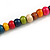 Multicoloured Round and Button Wood Bead Long Necklace - 88cm L - view 6