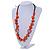 Signature Wood, Ceramic, Acrylic Bead Black Cord Necklace (Orange) - 72cm L (Adjustable) - view 2