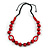 Signature Wood, Ceramic, Acrylic Bead Black Cord Necklace (Raspberry Red) - 72cm L (Adjustable) - view 8