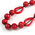 Signature Wood, Ceramic, Acrylic Bead Black Cord Necklace (Raspberry Red) - 72cm L (Adjustable) - view 3