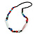 Statement Multicoloured Glass, Resin, Ceramic Bead Black Cord Necklace - 88cm L - view 3