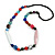 Statement Multicoloured Glass, Resin, Ceramic Bead Black Cord Necklace - 88cm L