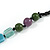 Statement Multicoloured Glass, Resin, Ceramic Bead Black Cord Necklace - 88cm L - view 5