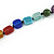 Statement Multicoloured Glass, Resin, Ceramic Bead Black Cord Necklace - 88cm L - view 6