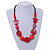 Romantic Butterfly Beaded Black Cord Necklace in Red - 56cm L - Adjustable - view 2