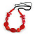 Romantic Butterfly Beaded Black Cord Necklace in Red - 56cm L - Adjustable