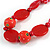 Romantic Butterfly Beaded Black Cord Necklace in Red - 56cm L - Adjustable - view 4