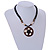 Brown/ Cream Coconut Shell Round Pendant with Black Glass Bead Chain Necklace - 41cm L - view 3