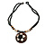 Brown/ Cream Coconut Shell Round Pendant with Black Glass Bead Chain Necklace - 41cm L - view 7