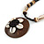 Brown/ Cream Coconut Shell Round Pendant with Black Glass Bead Chain Necklace - 41cm L - view 4