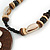 Brown/ Cream Coconut Shell Round Pendant with Black Glass Bead Chain Necklace - 41cm L - view 5