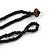Brown/ Cream Coconut Shell Round Pendant with Black Glass Bead Chain Necklace - 41cm L - view 6