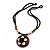 Brown/ Cream Coconut Shell Round Pendant with Black Glass Bead Chain Necklace - 41cm L - view 2