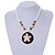 Brown/ Cream Coconut Shell Round Pendant with White Glass Bead Chain Necklace - 41cm L - view 3