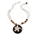 Brown/ Cream Coconut Shell Round Pendant with White Glass Bead Chain Necklace - 41cm L - view 2