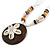 Brown/ Cream Coconut Shell Round Pendant with White Glass Bead Chain Necklace - 41cm L - view 4