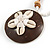 Brown/ Cream Coconut Shell Round Pendant with White Glass Bead Chain Necklace - 41cm L - view 5