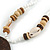 Brown/ Cream Coconut Shell Round Pendant with White Glass Bead Chain Necklace - 41cm L - view 6