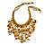 Mustard Yellow Shell Nugget, Glass Bead Fringe Necklace - 42cm L/ 11cm Front Drop