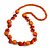 Orange Round and Button Wood Bead Long Necklace - 90cm L