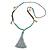 Trendy Turquoise, Sea Shell, Faux Tree Seed, Hematite Glass Bead Light Grey Cotton Tassel Long Necklace - 90cm L/ 12cm Tassel