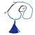 Trendy Turquoise, Sea Shell, Faux Tree Seed, Glass Bead Blue Cotton Tassel Long Necklace - 90cm L/ 12cm Tassel