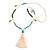 Trendy Turquoise, Sea Shell, Faux Tree Seed, White Glass Bead Cream Cotton Tassel Long Necklace - 90cm L/ 12cm Tassel