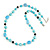 Light Blue Pearl, Black Glass and Ceramic Beaded Necklace - 72cm L/ 4cm Ext - view 1