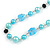 Light Blue Pearl, Black Glass and Ceramic Beaded Necklace - 72cm L/ 4cm Ext - view 4